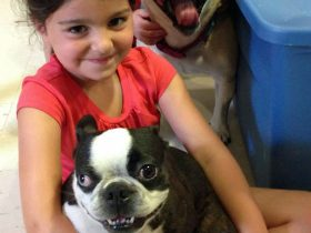 School age girl poses with dogs during Pet Week.
